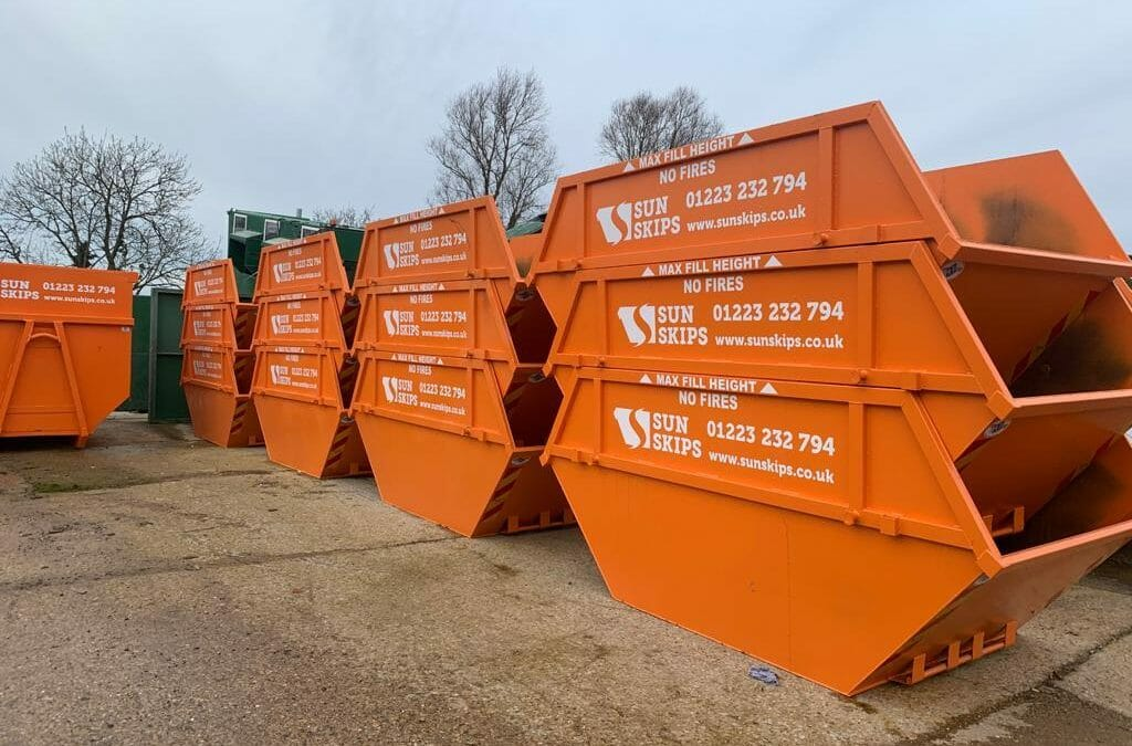 Skips for hire stacked up onsite