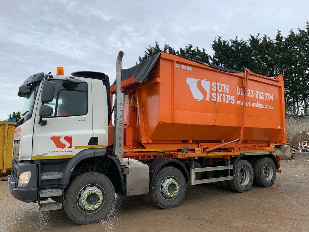 SunSkips commercial skip lorry at recycling site