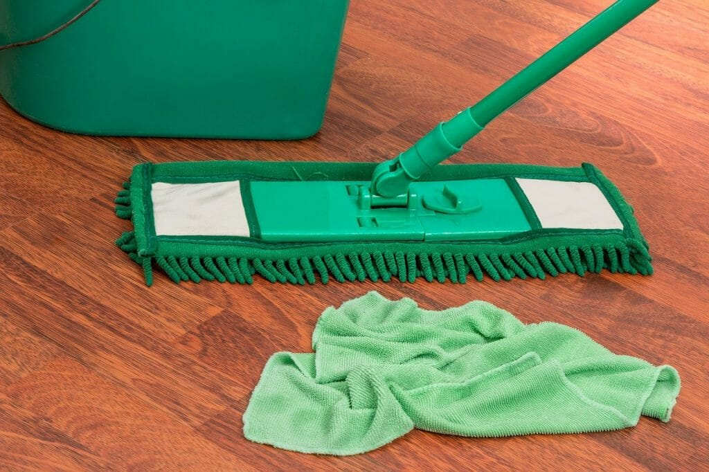 Mop and cloth of wooden floor