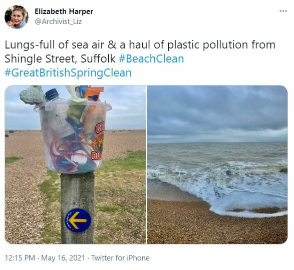 Tweet about the Great British Spring Clean 2021