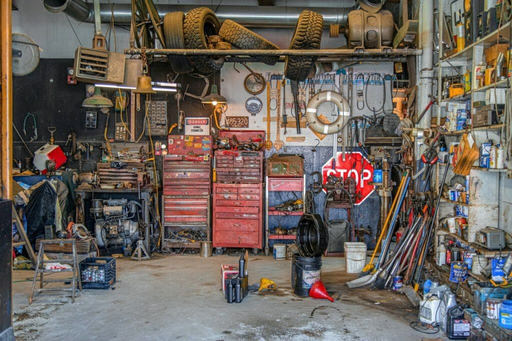 A garage that needs clearing out before moving house