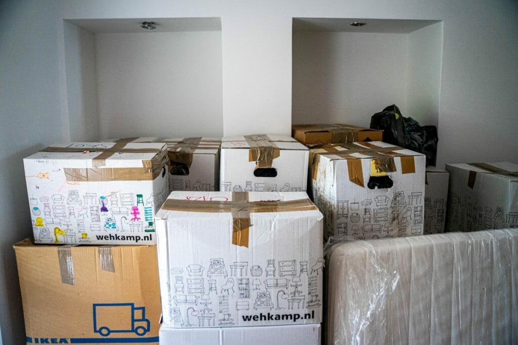Boxes packed for moving day