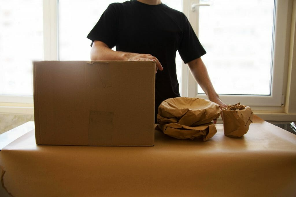 Packing delicate items for moving house