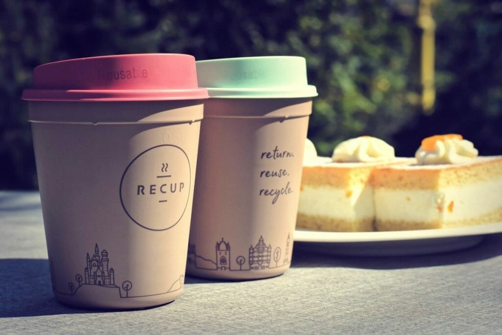 Reusable coffee cups used during Plastic-Free July