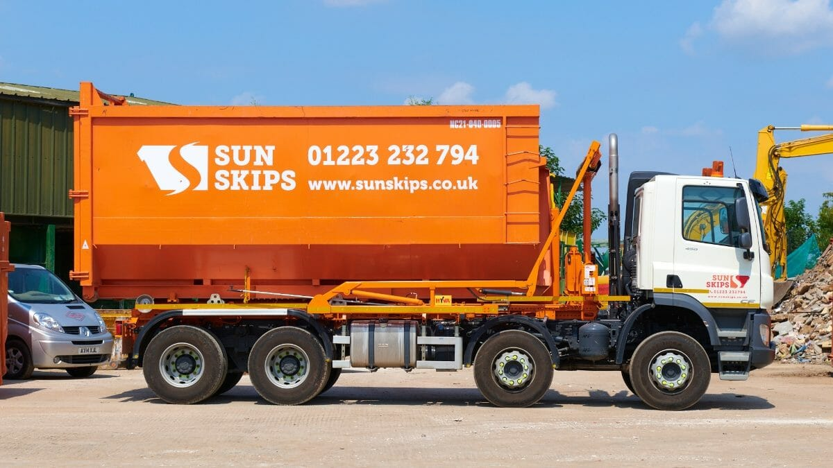 SunSkips lorry at the Cambridge site
