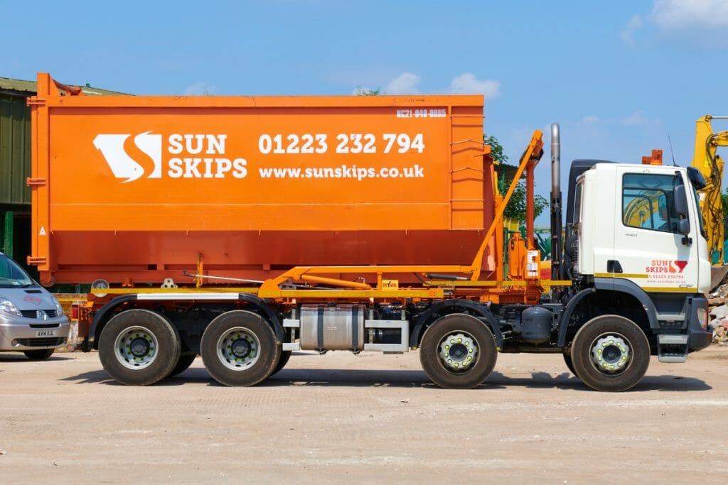 40-yard skip on a lorry